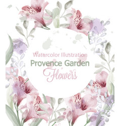 provence flowers wreath watercolor vector image