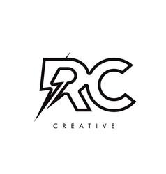 Rc letter logo design with lighting thunder bolt vector