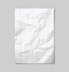 Realistic blank lined crumpled paper sheet vector