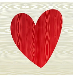 Red wooden heart shape vector image