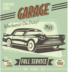Retro car service sign vector