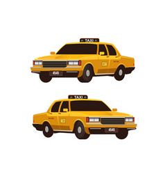 retro yellow taxi cabs set isometric view vector image