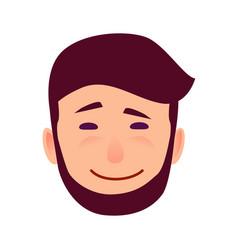 Sarcastic smile on cartoon man face vector
