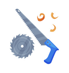 Saw with tough blade with hard toothed edge vector