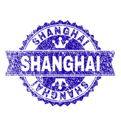 Scratched textured shanghai stamp seal with ribbon vector