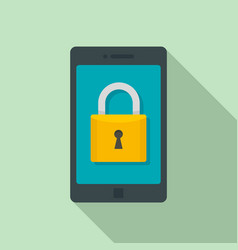 secured smartphone icon flat style vector image