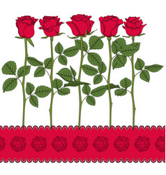 set of color with red roses vector image