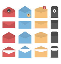 Set of colored paper envelopes vector