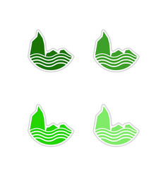Set of paper stickers on white background sea vector