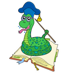 Snake teacher in open book vector