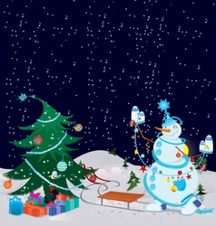 snowman is decorating christmas tree banner vector image