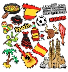 Spain Travel Scrapbook Stickers Patches Badges vector image