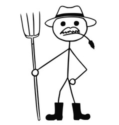 Stickman cartoon of farmer with pitchfork and hat vector
