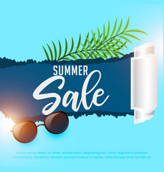 summer sale background with sunglasses and leaves vector image