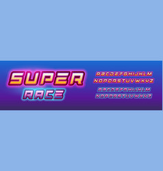 super hero race letters set comic book style vector image
