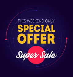 Super sale banner template special offer this vector