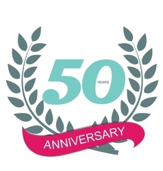 Template Logo 50 Anniversary in Laurel Wreath vector