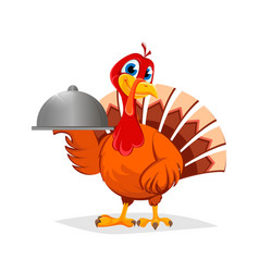 thanksgiving turkey holding domed tray vector image