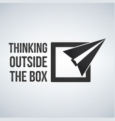 think outside box concept with frame plane vector image