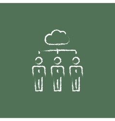 Three businessmen under the cloud icon drawn in vector image