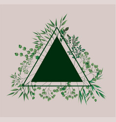 triangular frame with laurel leafs vector image