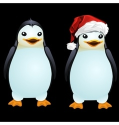 Two fun penguin in the Santa hat and without it vector