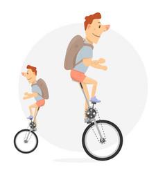 Unicycle bike with one wheel vector