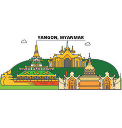Yangon myanmar outline skyline burmese flat thin vector