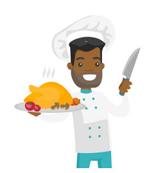 Young african chief cook holding roasted chicken vector