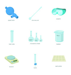 chemical experiment icons set cartoon style vector image