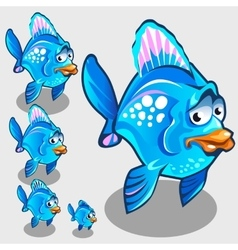 Cute blue fish with sad face character vector image vector image