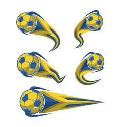 football yellow blue and soccer symbols set vector image