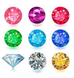 gemstone bright flatlay set top side view vector image vector image