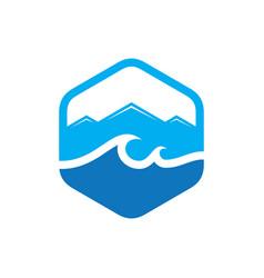 Hexagon wave mountain logo vector