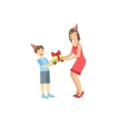 Mother And Child Celebrating Birthday Together vector image