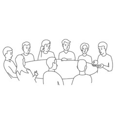 round table talks team business people meeting vector image