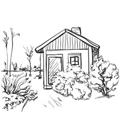cartoon hand drawing houses landscape vector image