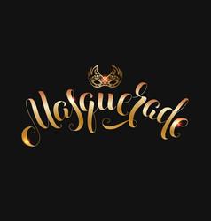 gold carnival mask calligraphy masquerade vector image