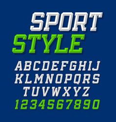 sport style retro font on dark blue background vector image