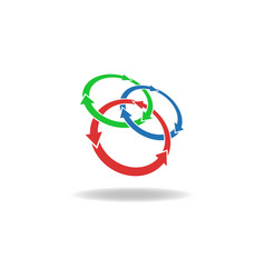 Three circles arrows loop logo cycles three vector image vector image