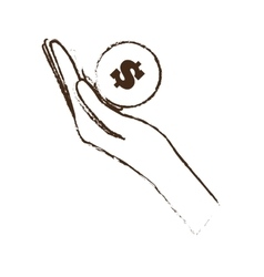 hand holds bill coin money sketch vector image