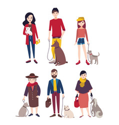 people walking with his dogs of different breeds vector image vector image