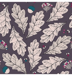 seamless texture with leaves and flowers on dark vector image