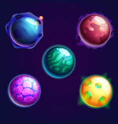 set of isolated universe planets or cosmos stars vector image vector image
