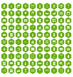 100 interior icons hexagon green vector image