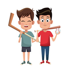 boys sport baseball and hockey design vector image