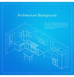 isometric of kitchen blueprint interior vector image