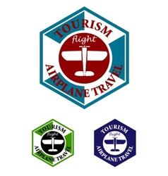 Retro airplane travel label or icon vector image vector image