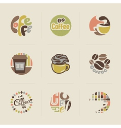 Retro coffee emblems vector