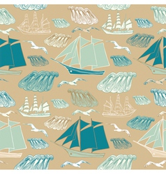 seamless pattern with sea and ships vector image